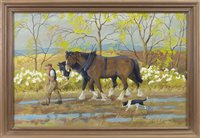 Lot 462 - TWO CLYDESTALES AND A BORDER COLLIE, A WATERCOLOUR AND GOUACHE BY RALSTON GUDGEON