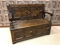 Lot 923-AN OAK MONKS BENCH