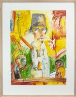 Lot 15-THE MAGICIAN, AN OUTSTANDING WATERCOLOUR ON PAPER BY JOHN BELLANY