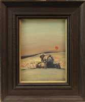 Lot 24-JUNE COLLECTING MUSHROOMS, AN OIL ON BOARD BY GEOFFREY ROPER
