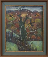 Lot 681-RAVENS CIRCLING THE TREE OF KNOWLEDGE, BY CHRISTINA BROOKS