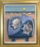 Lot 29-BEACH TABLE WITH SHELLS, AN OIL ON CANVAS BY DAVID M MARTIN