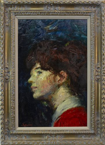 Lot 33-THE PORTRAIT OF ELSA, AN OIL ON BOARD BY GEOFFREY SQUIRE