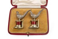 Lot 818 - AN UNUSUAL PAIR OF EDWARDIAN SILVER AND ENAMEL MENU HOLDERS