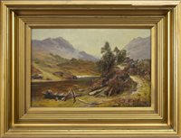 Lot 497-LOCH SCENE WITH FIGURES, AN OIL BY JAMES HERON