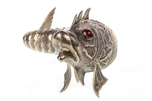 Lot 824-AN IMPRESSIVE SPANISH SILVER ARTICULATED FISH