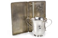 Lot 819-A SCOTTISH SILVER CHRISTENING CUP AND A SILVER CIGARETTE CASE