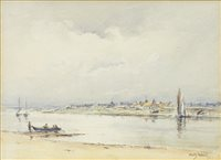 Lot 473 - COASTAL SCENE, A WATERCOLOUR BY DAVID WEST