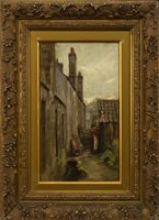 Lot 475 - OLD HOUSES AT METHILL, AN OIL ON CANVAS BY SIR JAMES LAWTON WINGATE
