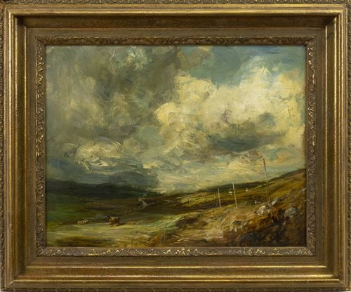 Lot 477-STORM CLOUDS, FURNESS, NEAR INVERARY, AN OIL ON CANVAS BY SIR JAMES LAWTON WINGATE