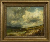 Lot 477 - STORM CLOUDS, FURNESS, NEAR INVERARY, AN OIL ON CANVAS BY SIR JAMES LAWTON WINGATE