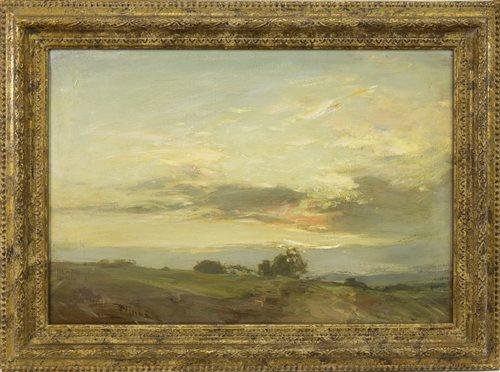Lot 483-SUNDOWN NEAR EDZELL, AN OIL ON CANVAS BY SIR JAMES LAWTON WINGATE