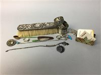 Lot 21-A SILVER MOUNTED BRUSH, JEWELLERY AND NAPKIN RINGS