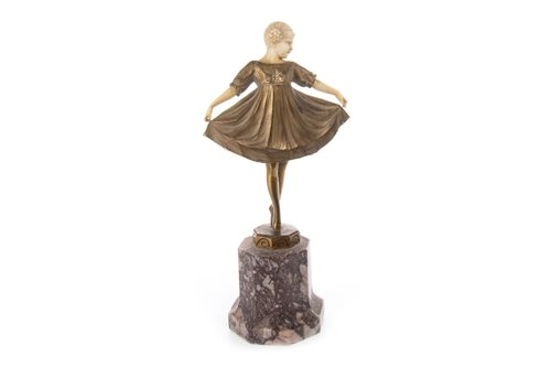 Lot 903-AN ART DECO GILDED BRONZE AND IVORY FIGURE OF 'LIESELOTTE' BY PREISS