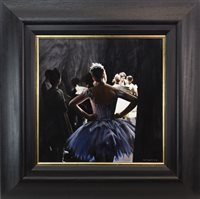Lot 45-THE VIEW FROM BACKSTAGE,  AN OIL ON CANVAS BY GERARD BURNS