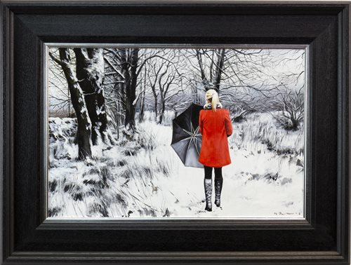 Lot 46-THE WINTER PATH, AN OIL ON CANVAS BY GERARD BURNS