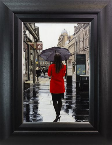 Lot 47-RED COAT ON GORDON STREET, AN OIL ON CANVAS BY GERARD BURNS