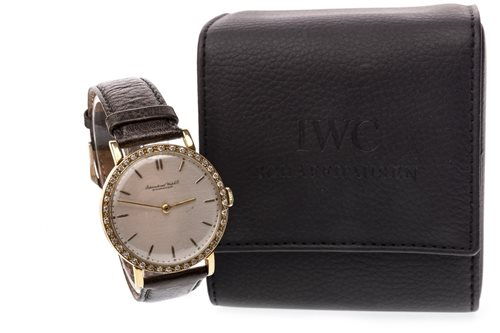 Lot 792 - A GENTLEMAN'S IWC DIAMOND SET GOLD PLATED WATCH