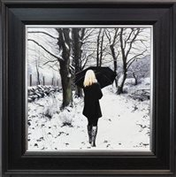 Lot 646-BLACK COAT IN WINTER, AN OIL ON CANVAS BY GERARD BURNS