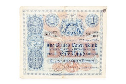 Lot 500-THE BRITISH LINEN BANK £1 NOTE, 1923
