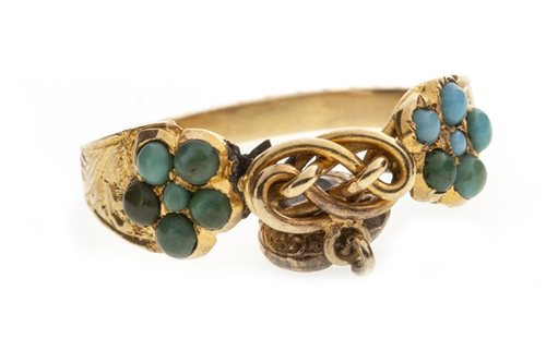 Lot 246 - A VICTORIAN TURQUOISE SET SWEETHEART RING