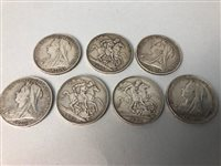 Lot 2-A LOT OF SEVEN VICTORIAN SILVER CROWNS