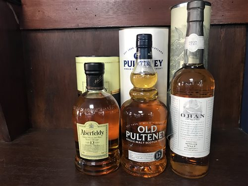 Lot 20-ABERFELDY AGED 12 YEARS, OBAN AGED 14 YEARS & OLD PULTENEY AGED 12 YEARS