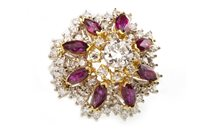 Image for AN IMPRESSIVE DIAMOND AND RED GEM SET RING