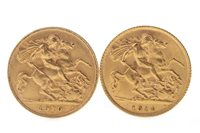 Lot 504-TWO GOLD HALF SOVEREIGNS, 1910 AND 1914