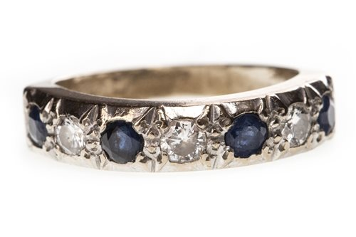 Lot 16-A BLUE GEM AND DIAMOND HALF ETERNITY RING