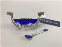 Lot 6-SET OF FOUR LATE VICTORIAN OPEN SALT DISHES WITH SPOONS AND ANOTHER