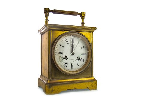 Lot 1408-A LARGE BRASS CARRIAGE STYLE CLOCK BY WILSON & SHARP
