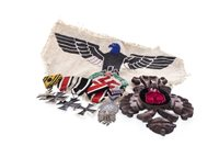 Lot 946-THIRD REICH INTEREST - THREE IRON CROSSES ALONG WITH A MEDAL, PATCH AND AN SS BADGE