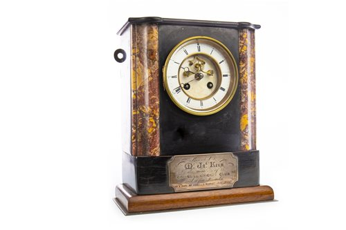 Lot 1406-A VICTORIAN BLACK SLATE MANTEL CLOCK