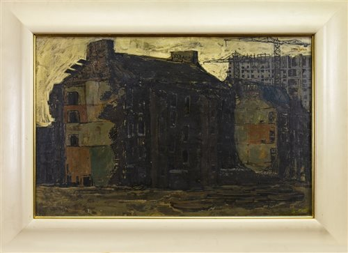 Lot 513-URBAN DECAY, GORBALS, GLASGOW, AN OIL BY TOM CALDER