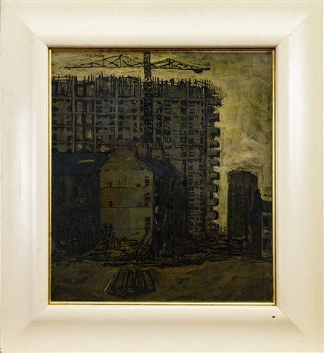 Lot 514-GORBALS DESTRUCTION, GLASGOW, AN OIL BY TOM CALDER