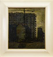 Lot 514-GORBALS DESTRUCTION, GLASGOW, AN OIL BY TOM CALDER