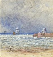 Lot 494-CHOPPY SHORE SCENE, A CHOPPY SHORE SCENE