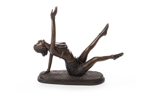 Lot 961-AN ART DECO STYLE BRONZED FIGURE OF A DANCER