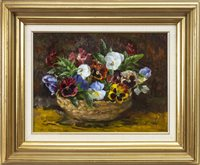 Lot 505-PANSIES IN A BASKET, AN OIL BY MARY ARMOUR