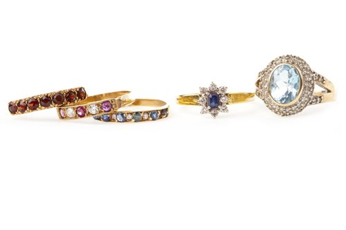 Lot 13-A GROUP OF FIVE GEM SET RINGS