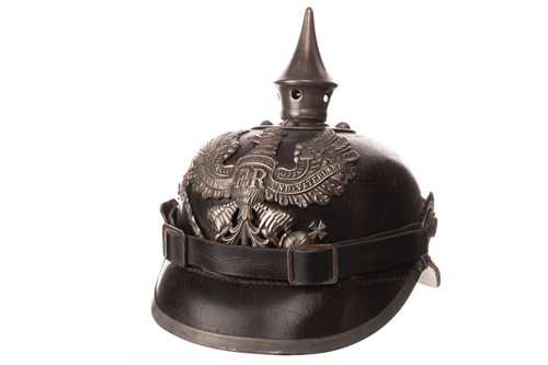 Lot 980-A 19TH CENTURY GERMAN LEATHER SPIKED PICKLEHAUBE