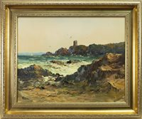 Lot 509-ROCKY COASTAL SCENE, AN OIL BY ALFRED ALLAN