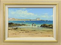 Lot 511-BEACH SCENE WITH FIGURES, AN OIL BY ALFRED ALLAN