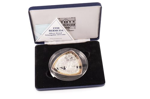 Lot 506-A 1998 BERMUDA SILVER PROOF TRIANGULAR $9 COIN