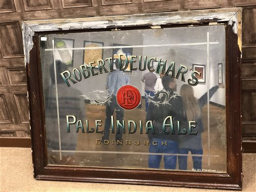 Lot 924-A VICTORIAN ROBERT DEUCHAR'S PALE INDIA ALE PUB ADVERTISING MIRROR