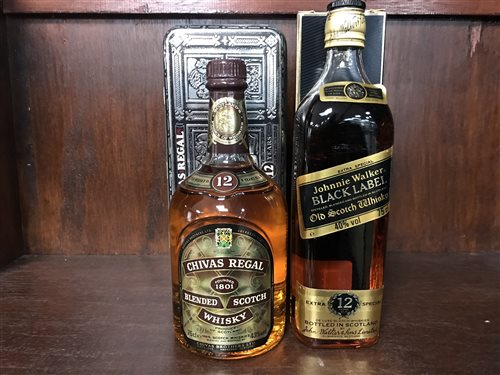 Lot 24-JOHNNIE WALKER BLACK LABEL 12 YEARS OLD AND CHIVAS REGAL AGED 12 YEARS