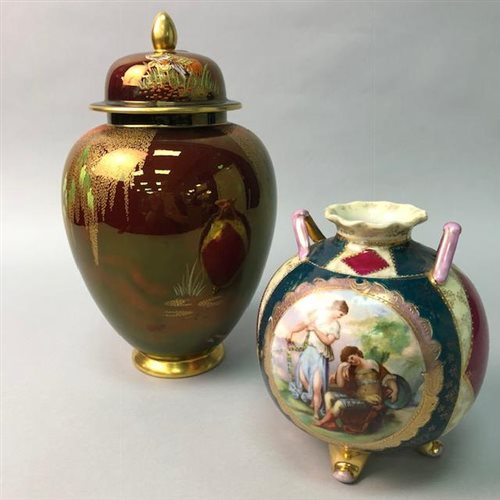 Lot 7-A CARLTON WARE ROUGE ROYAL GINGER JAR AND A VASE