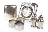 Lot 831 - A SILVER TRAVELLING TIMEPIECE AND OTHER SILVER ITEMS