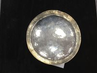 Lot 839 - AN EDWARDIAN ARTS & CRAFTS HAMMERED SILVER TAZZA